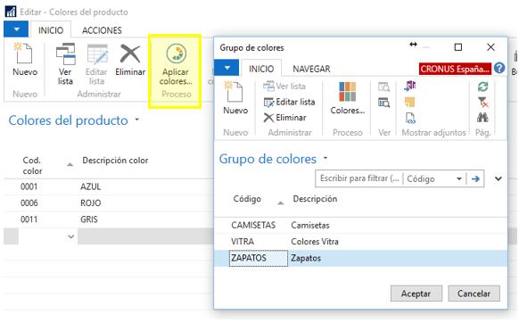 Grupos de colores